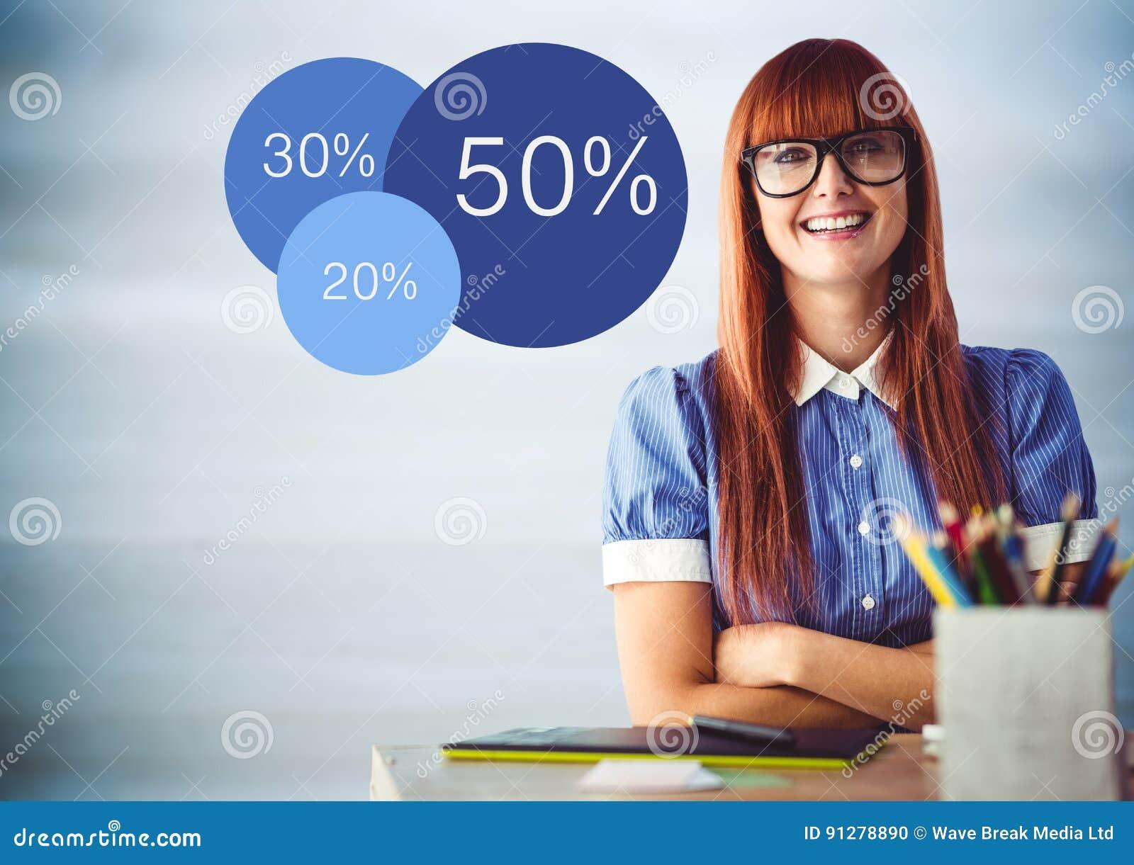 Kvinnan på skrivbordet med armar korsade och blåttstatistik mot oskarp blå wood panel