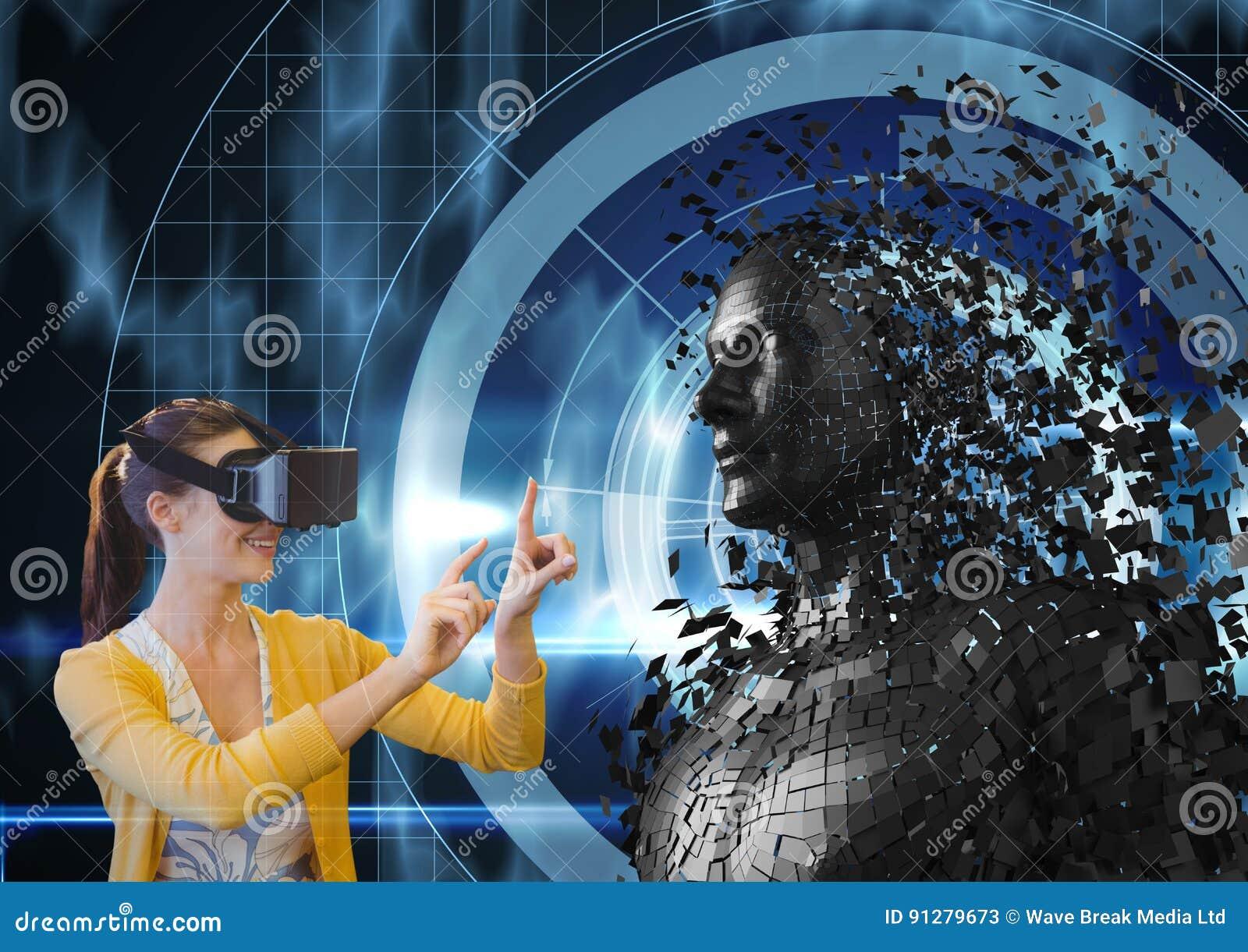 Kvinnan som ser 3d, spridde det kvinnliga diagramet på VR-exponeringsglas
