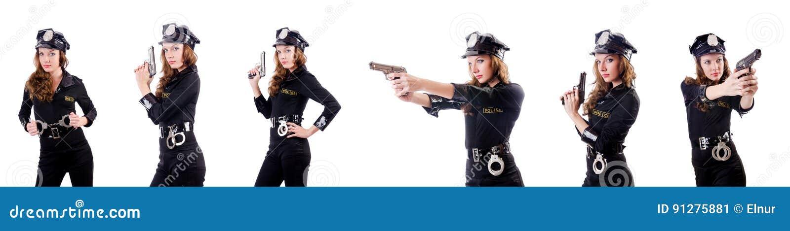 Kvinnapolisen med handbojor på vit