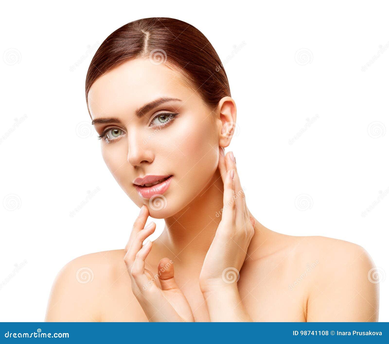 Kvinnaskönhetmakeup, naturligt framsidasmink, kropphudomsorg