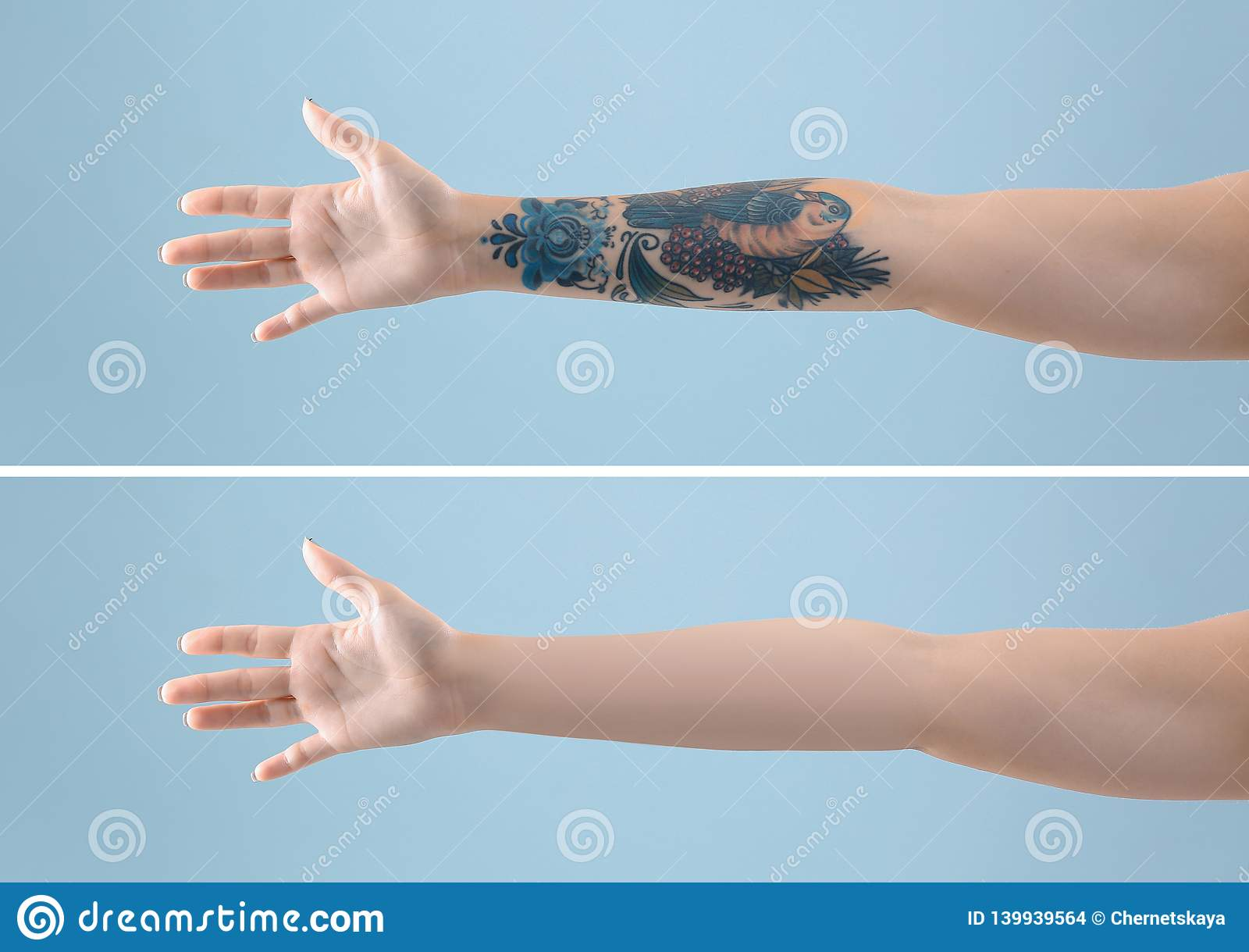 Kvinnlig arm med tatueringen