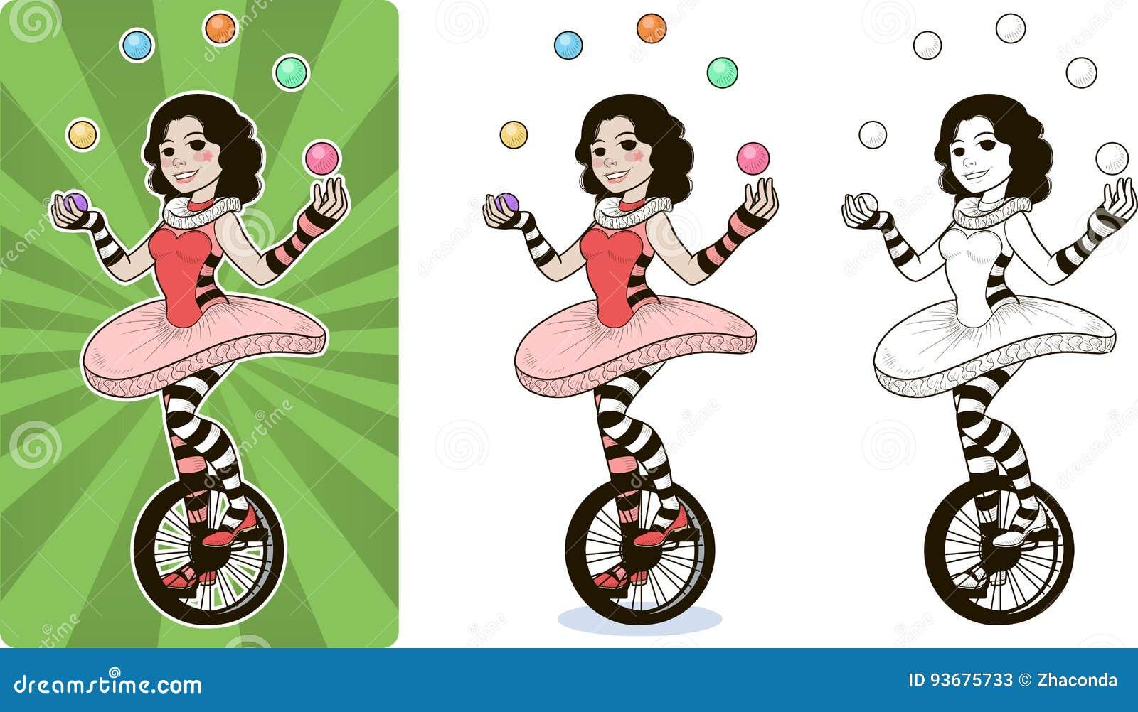 Kvinnlig för jonglörcirkustecken
