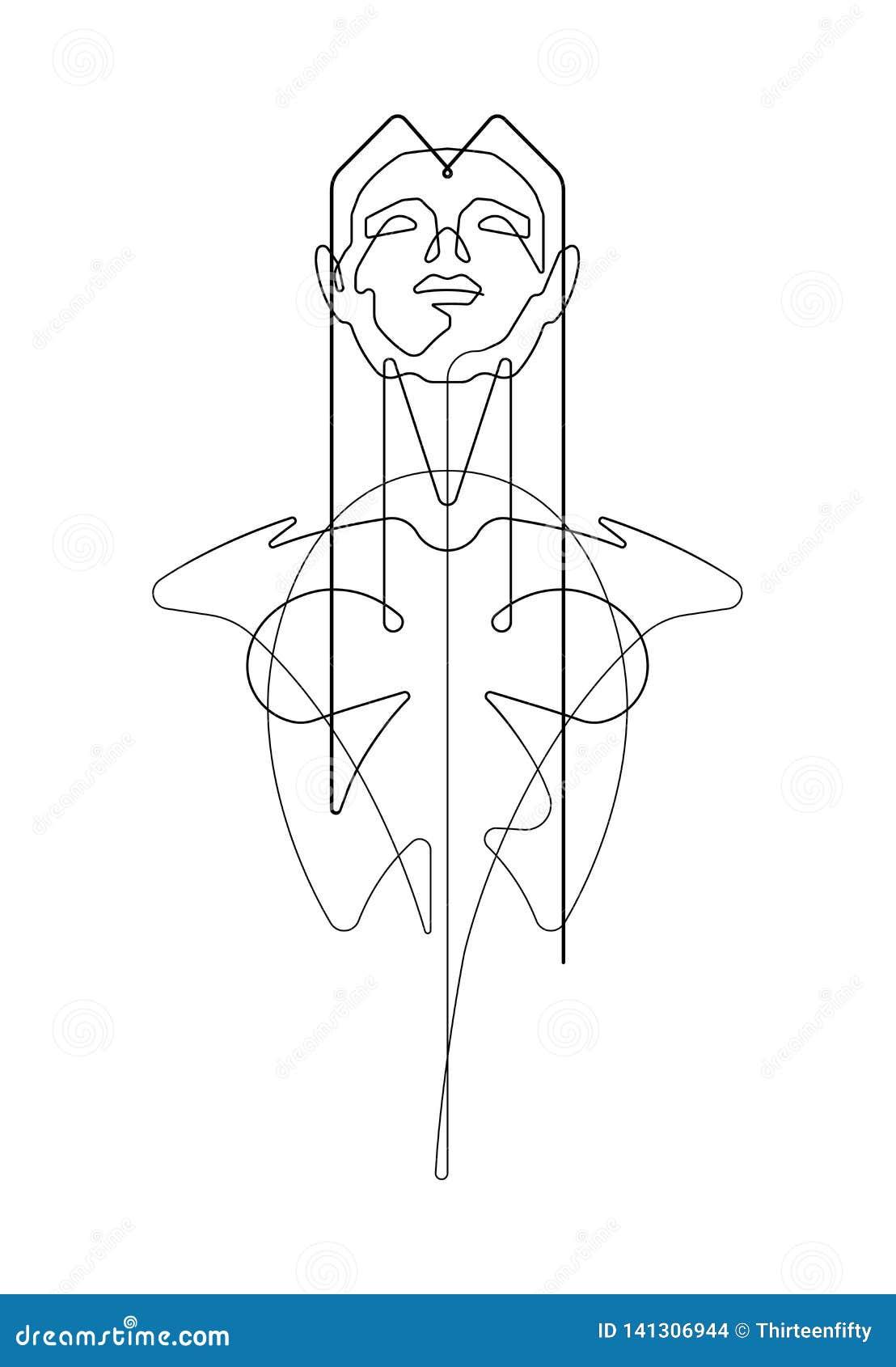 Kvinnlig fortlöpande linje illustration för byst för vektordiagram
