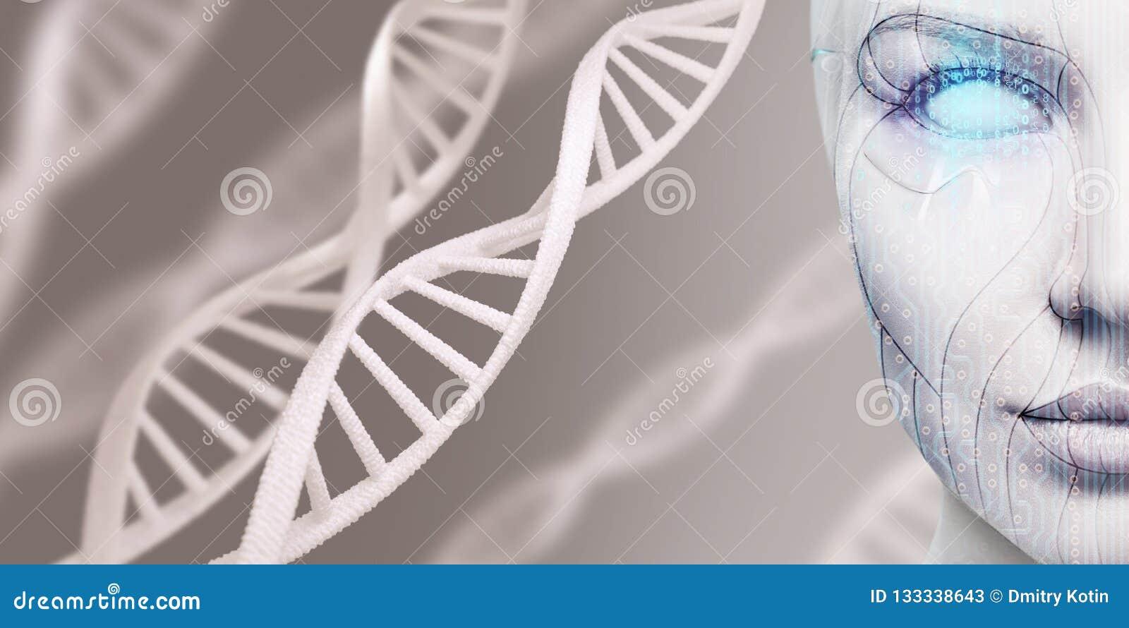 Kvinnlig framsida för härlig cyborg bland DNAstammar