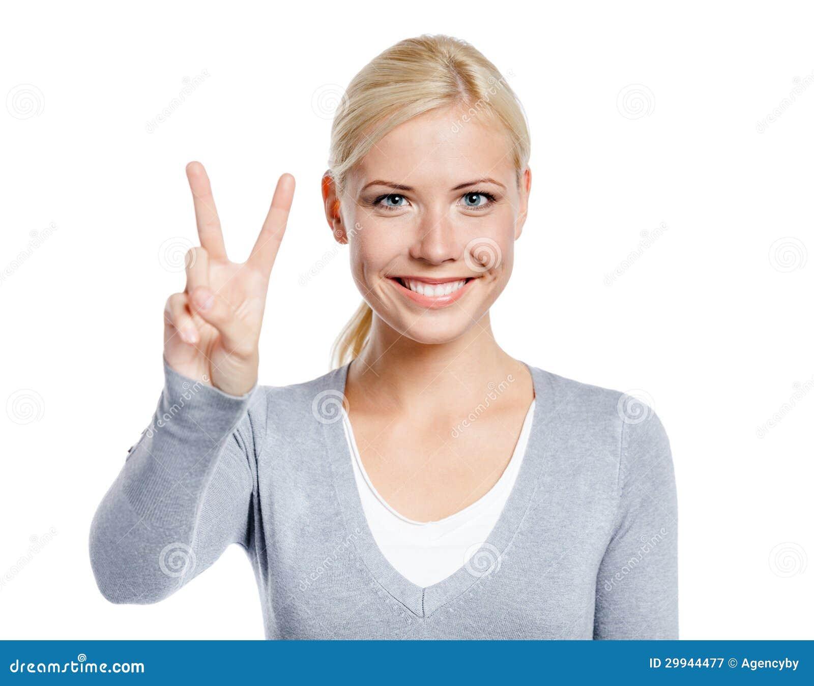 Kvinnligt göra en gest för fred