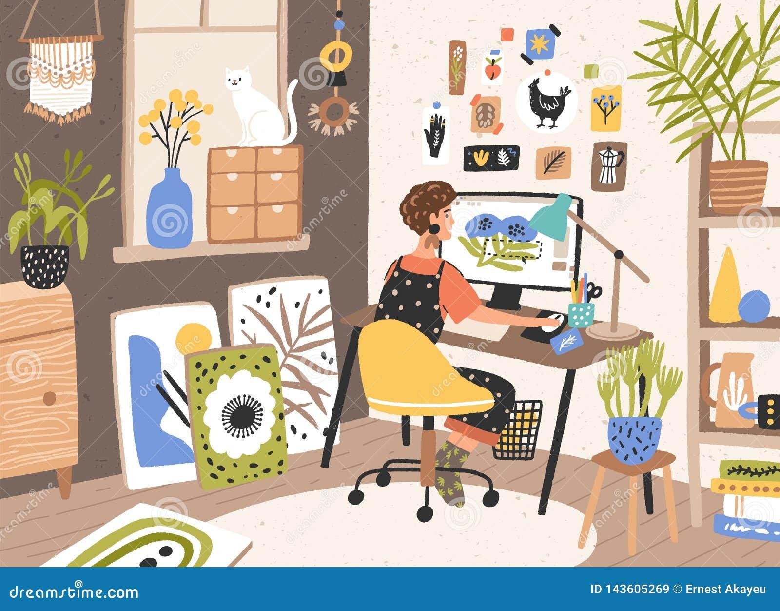 Kvinnlig grafisk formgivare, illustratör eller frilans- arbetare som hemma sitter på skrivbordet och arbete på datoren kreativite
