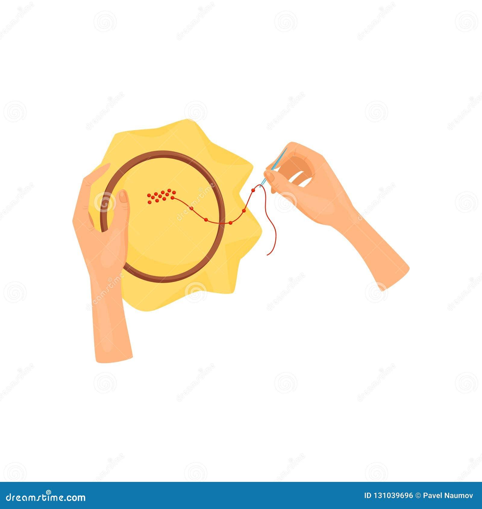 Kvinnlig handbeadwork genom att använda den träbeslaget och visaren Konsthantverk Hobby- och fritidtema Plan vektordesign