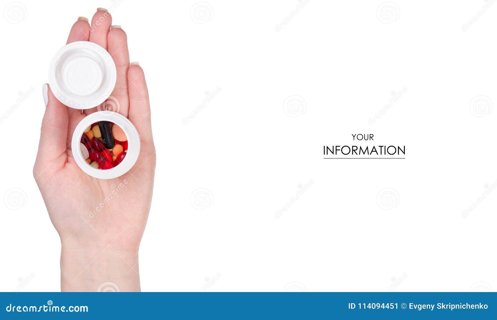 Kvinnlig modell för medicin för kapsel för preventivpillerar för handinnehavkrus