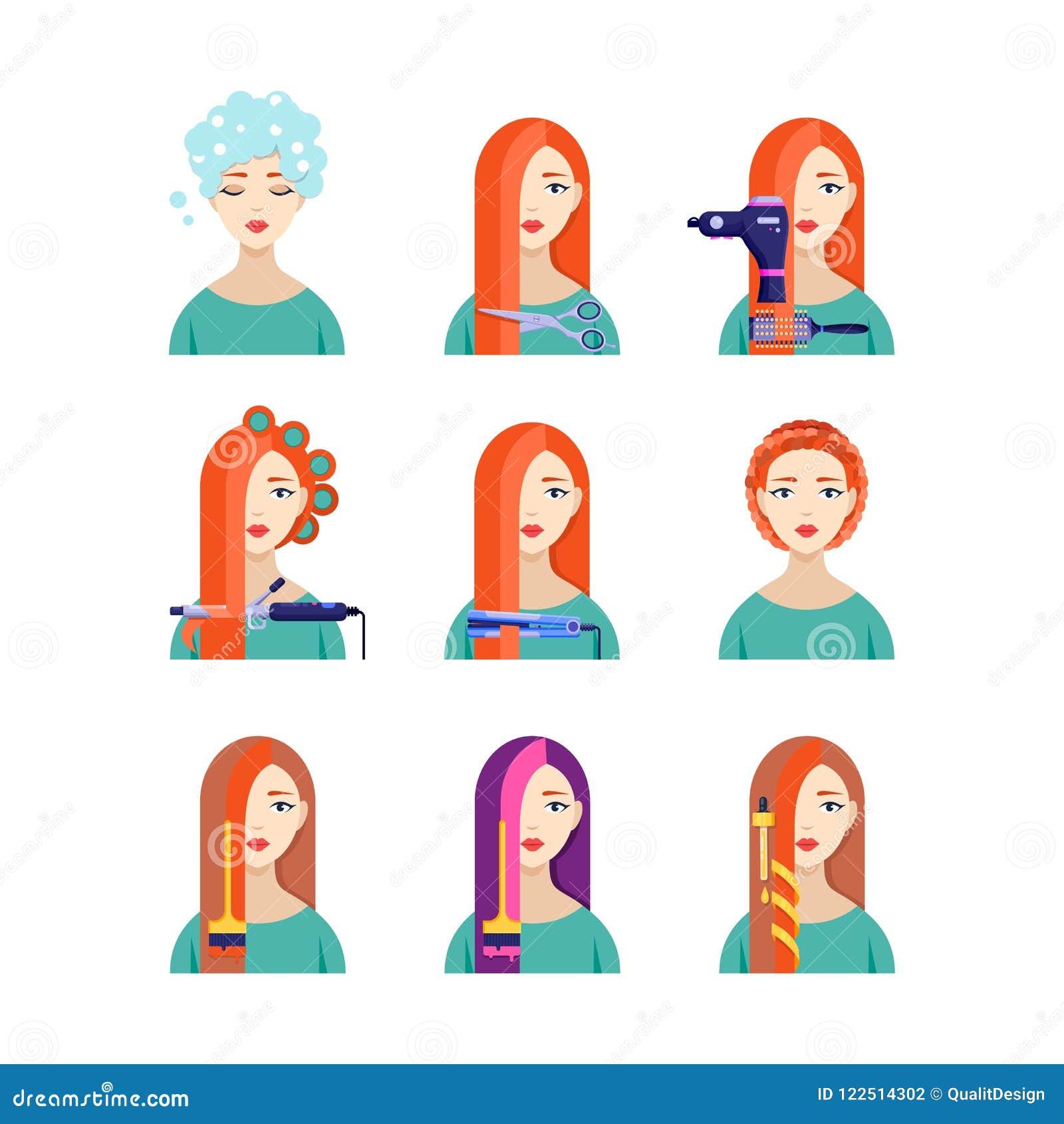 Kvinnlig service för hårsalong, plan illustration för vektor Härlig kvinna i frisering Skönhetstylistbegrepp