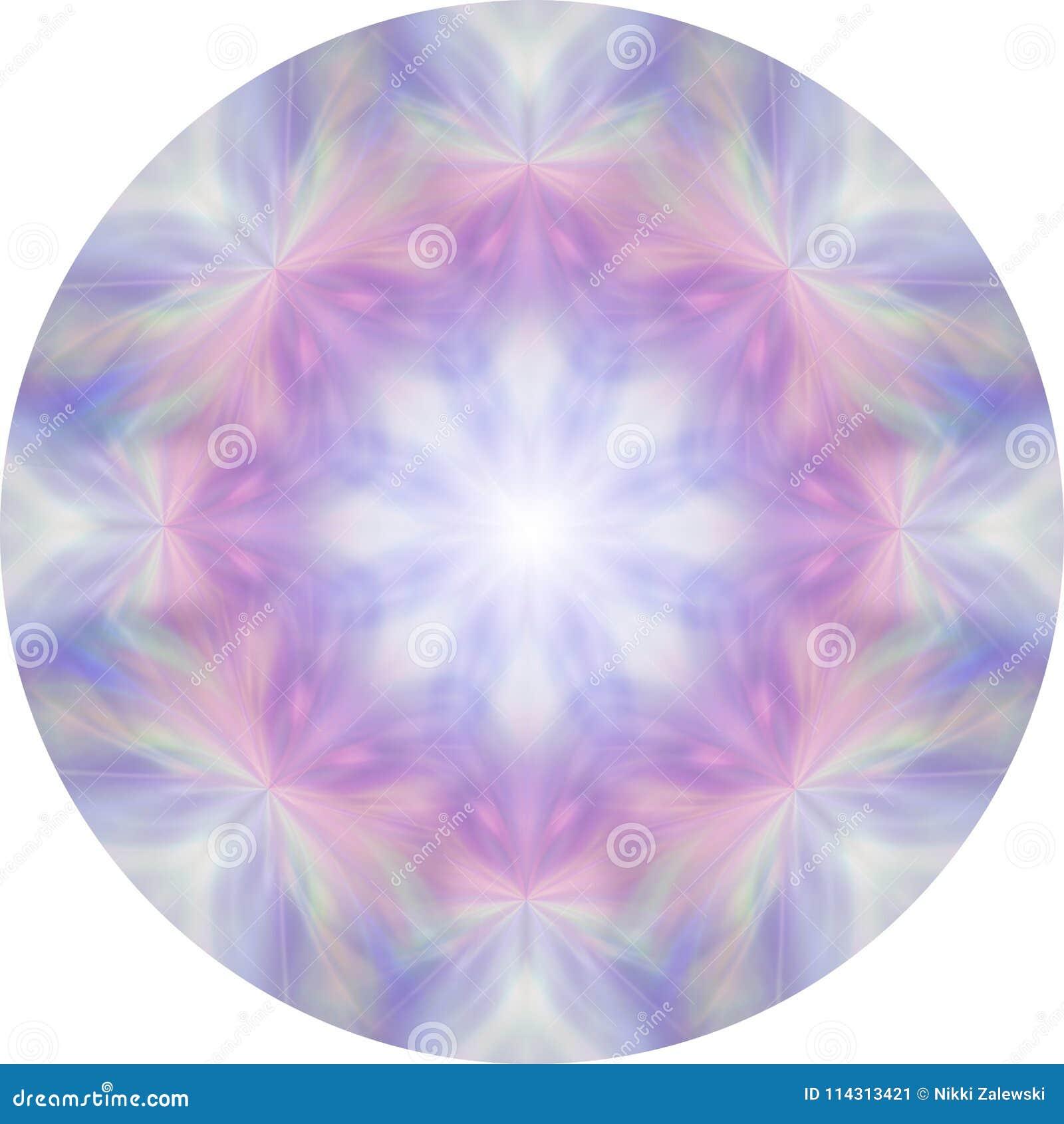 Kvinnliga åtta segmenterar rosa färg- och blåttmeditationmandalaen