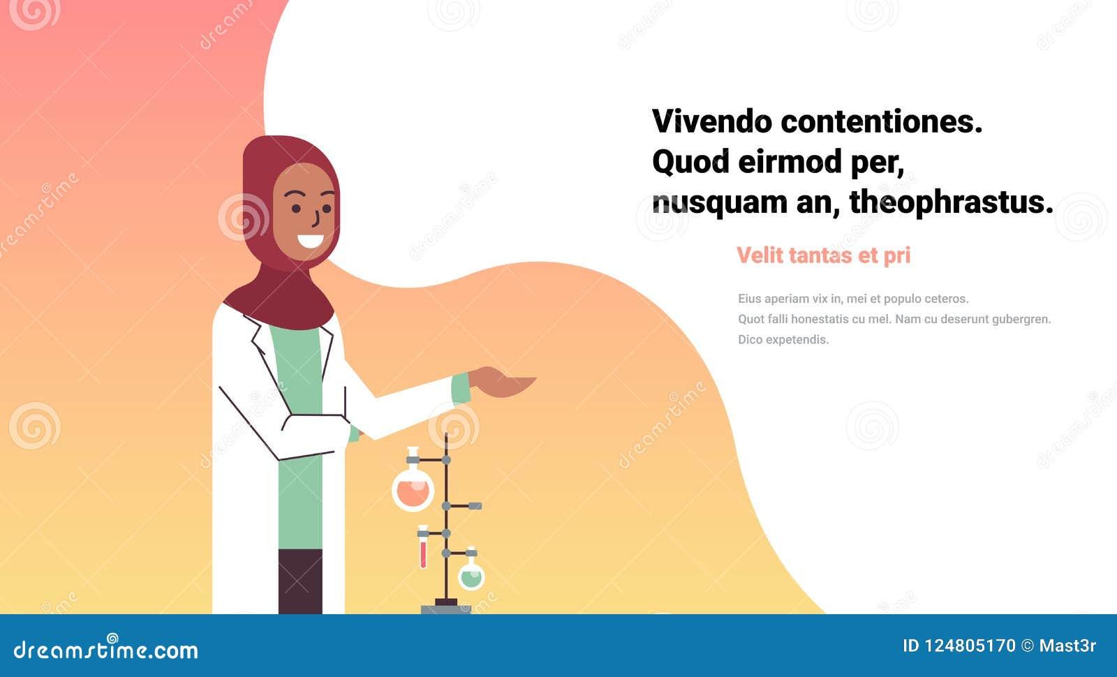 Kvinnliga arabiska forskare som arbetar laboratoriumet som gör forskaren för kvinnan för forskningprovrördroppglassen den arabisk