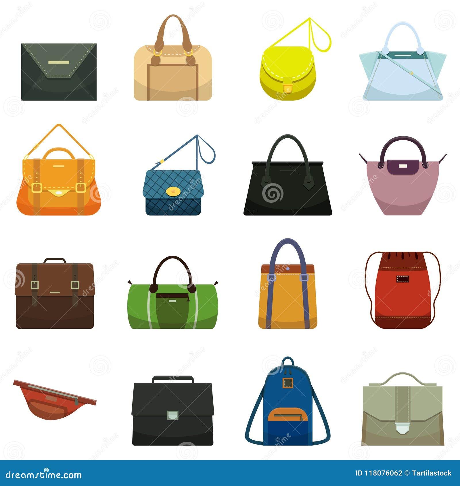 Kvinnliga läderhandväskor och manlig tillbehör Den färgrika handväskatillbehören, skönhetpåsar och handväskan modellerar samlings