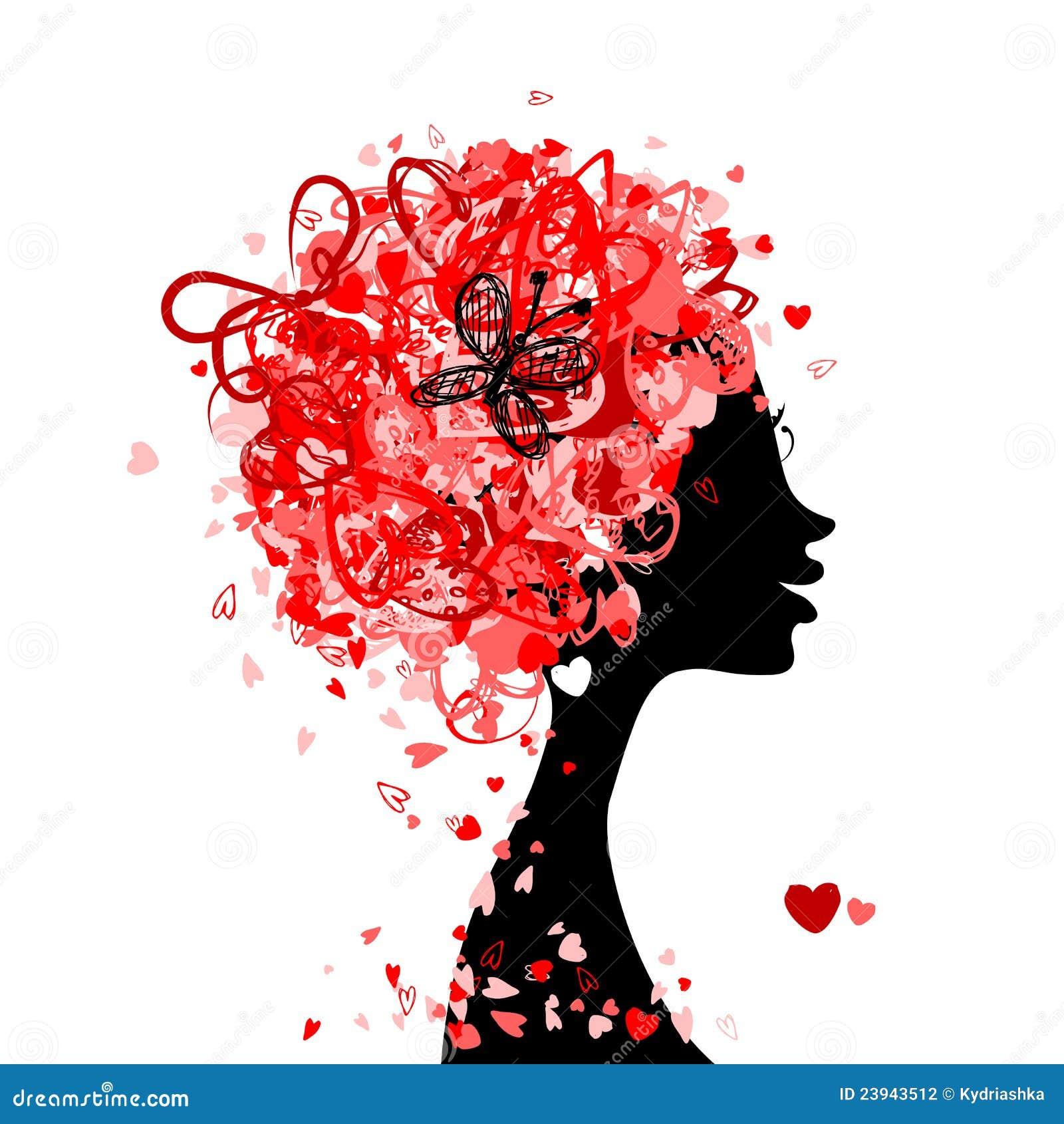 Kvinnlighuvud med frisyren som göras från mycket lilla hjärtor