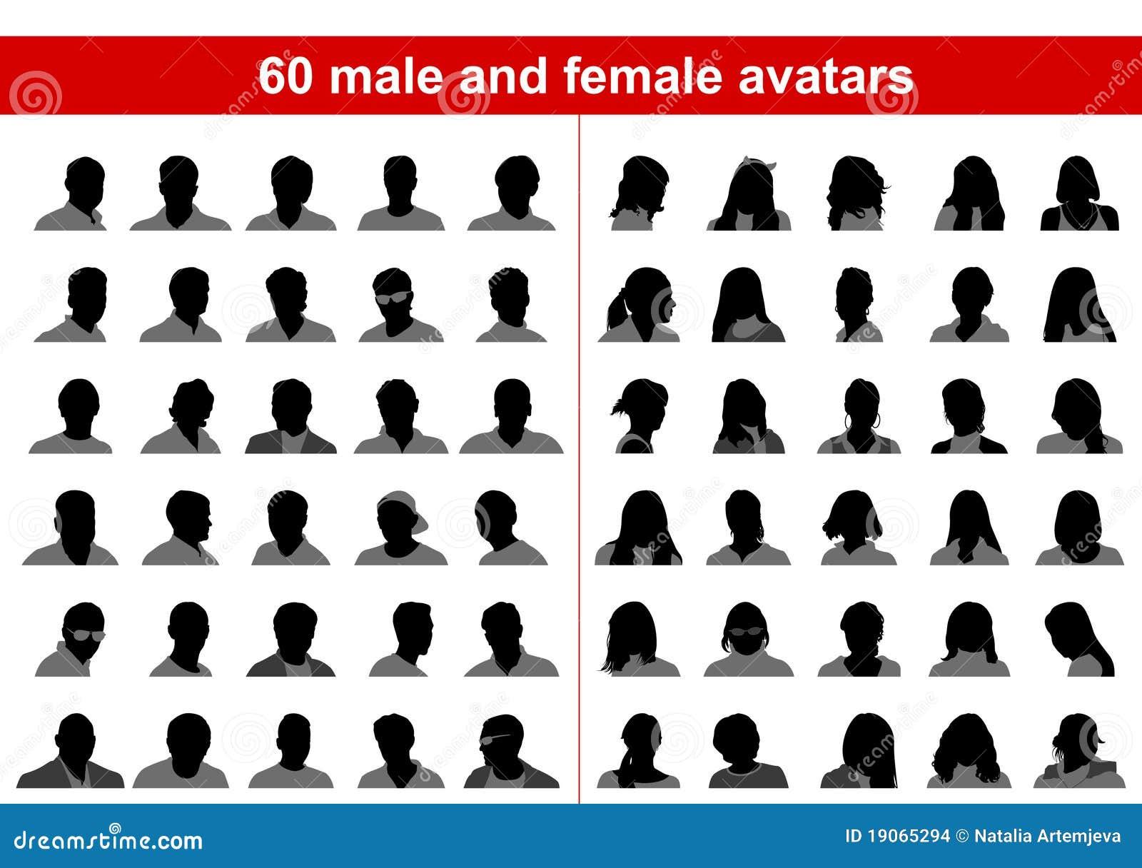 Kvinnligmanlig för 60 avatars