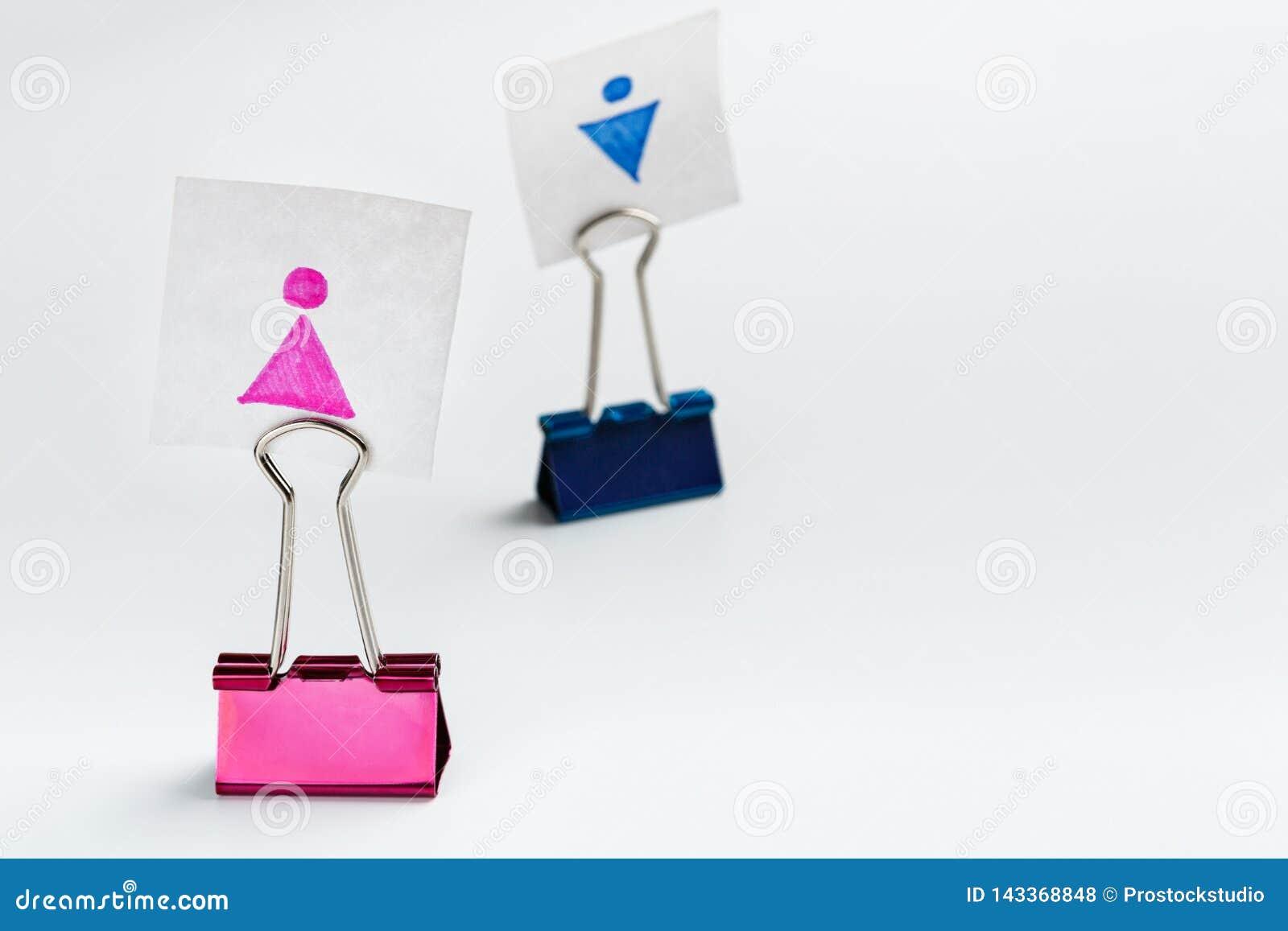 Kvinnligt diagram på ledande man för rosa limbindninggem