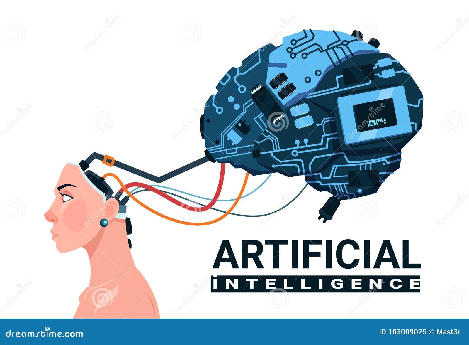 Kvinnligt huvud med modernt begrepp CyborgBrain Isolated On White Background för konstgjord intelligens