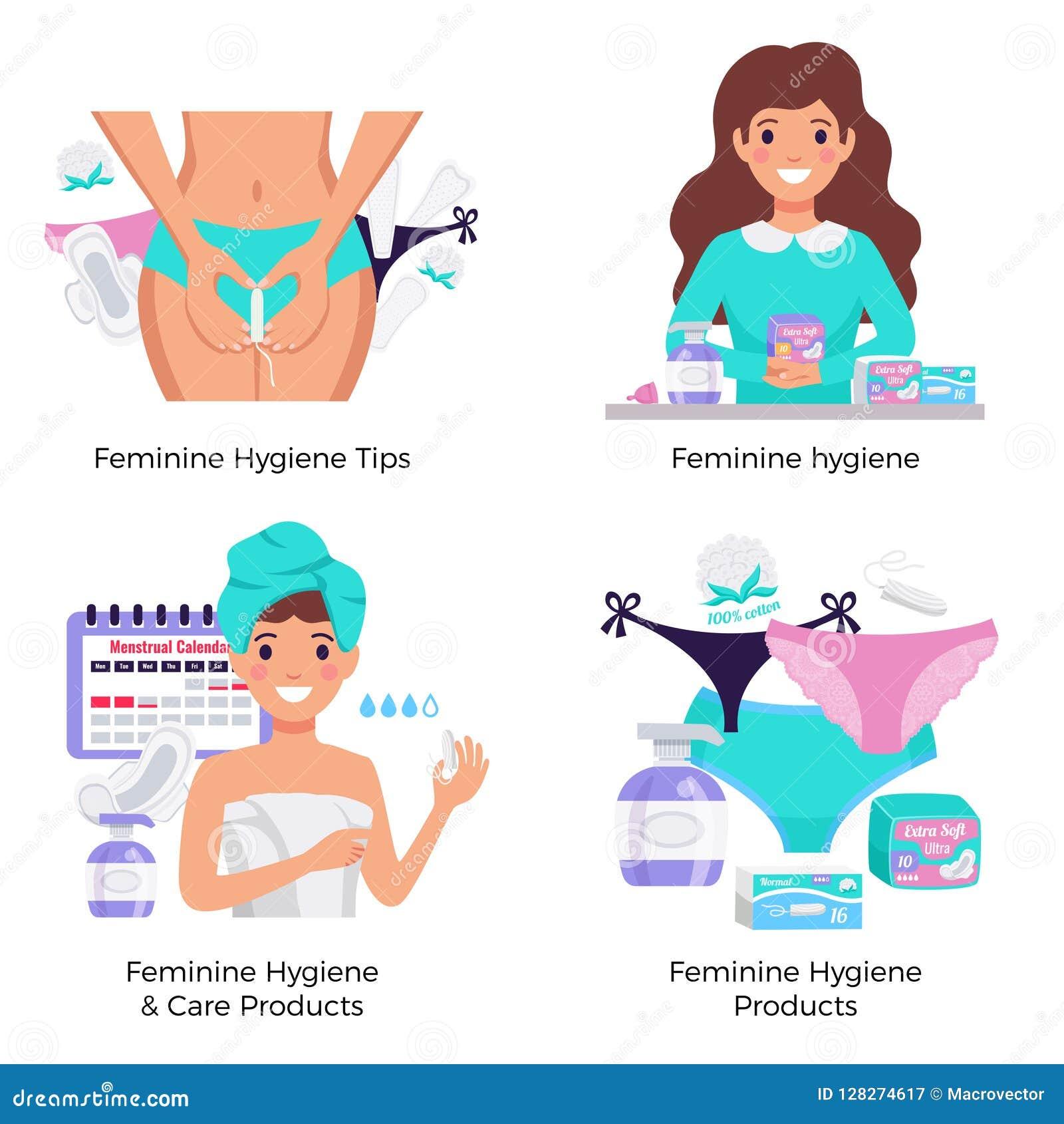 Kvinnligt hygienlägenhetbegrepp