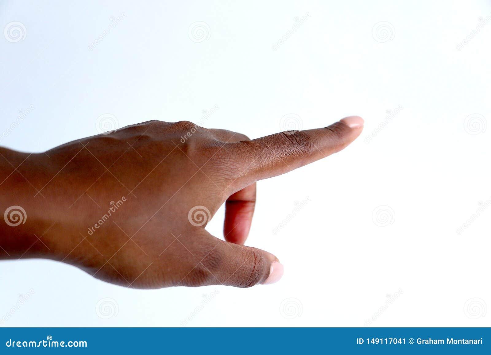Kvinnligt svart afrikanskt indiskt peka f?r hand