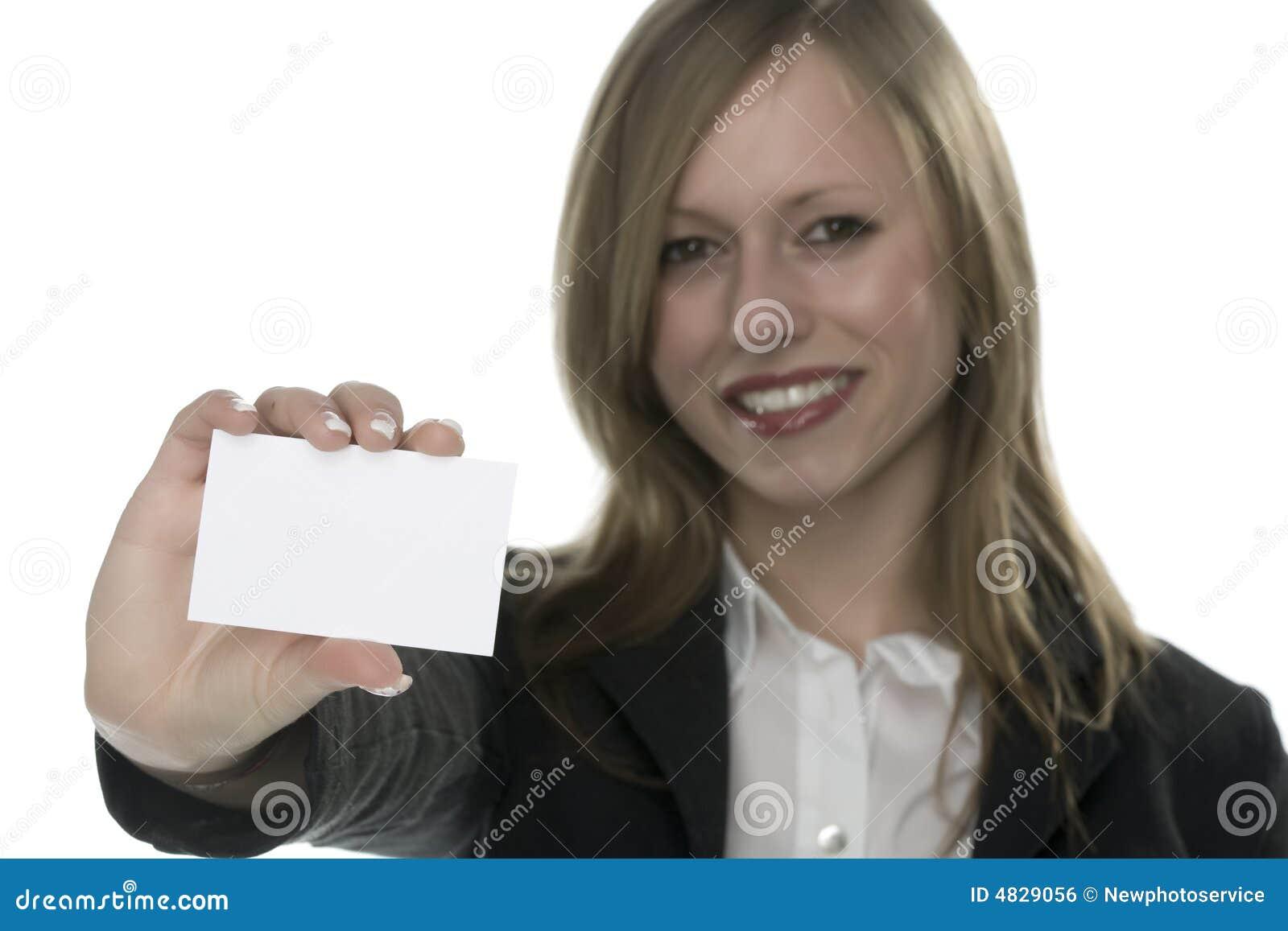 Kvinnor för hand för affärskort