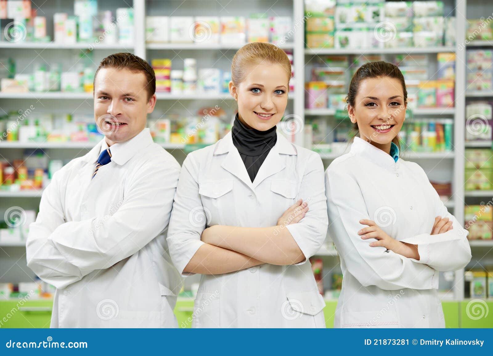 Kvinnor för lag för apotek för kemistapotekman