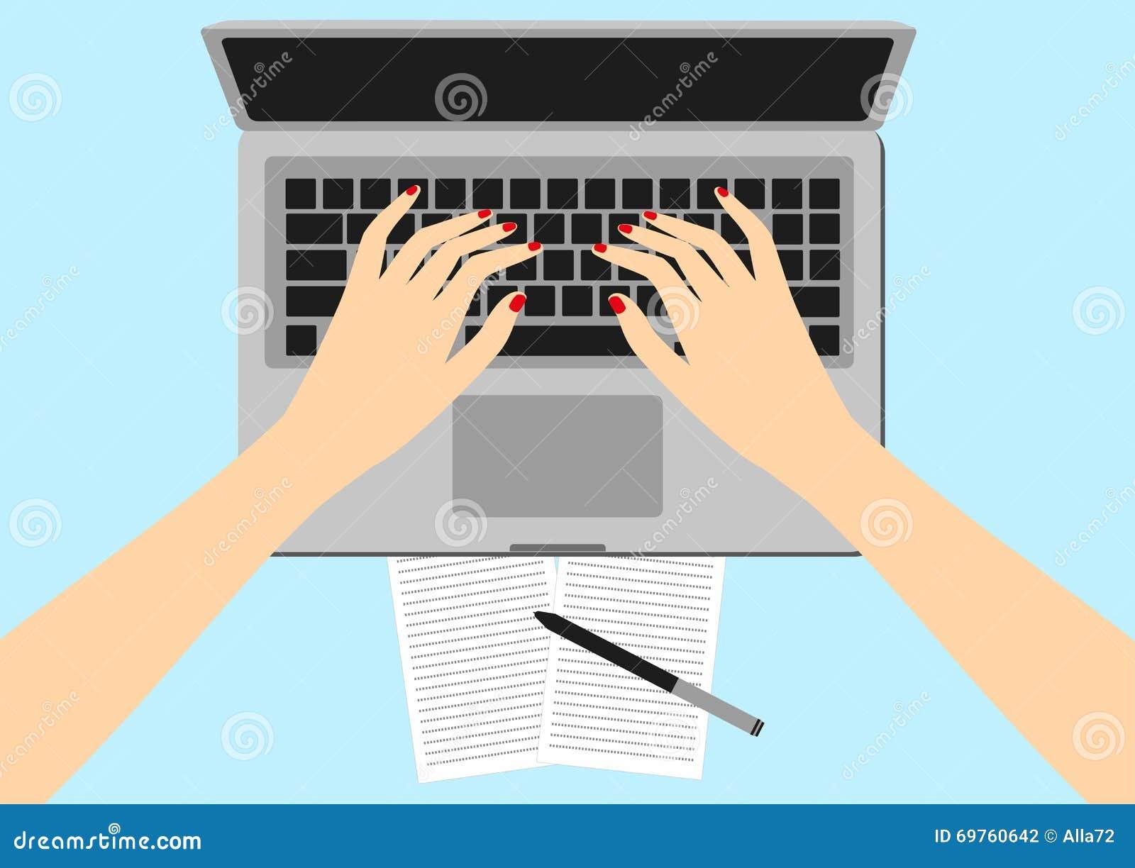 Kvinnor i arbetsplatsen Illustration för vektor för skärm för handskrivbordbärbar dator av affärsfolk Vinkel för bästa sikt ovanf