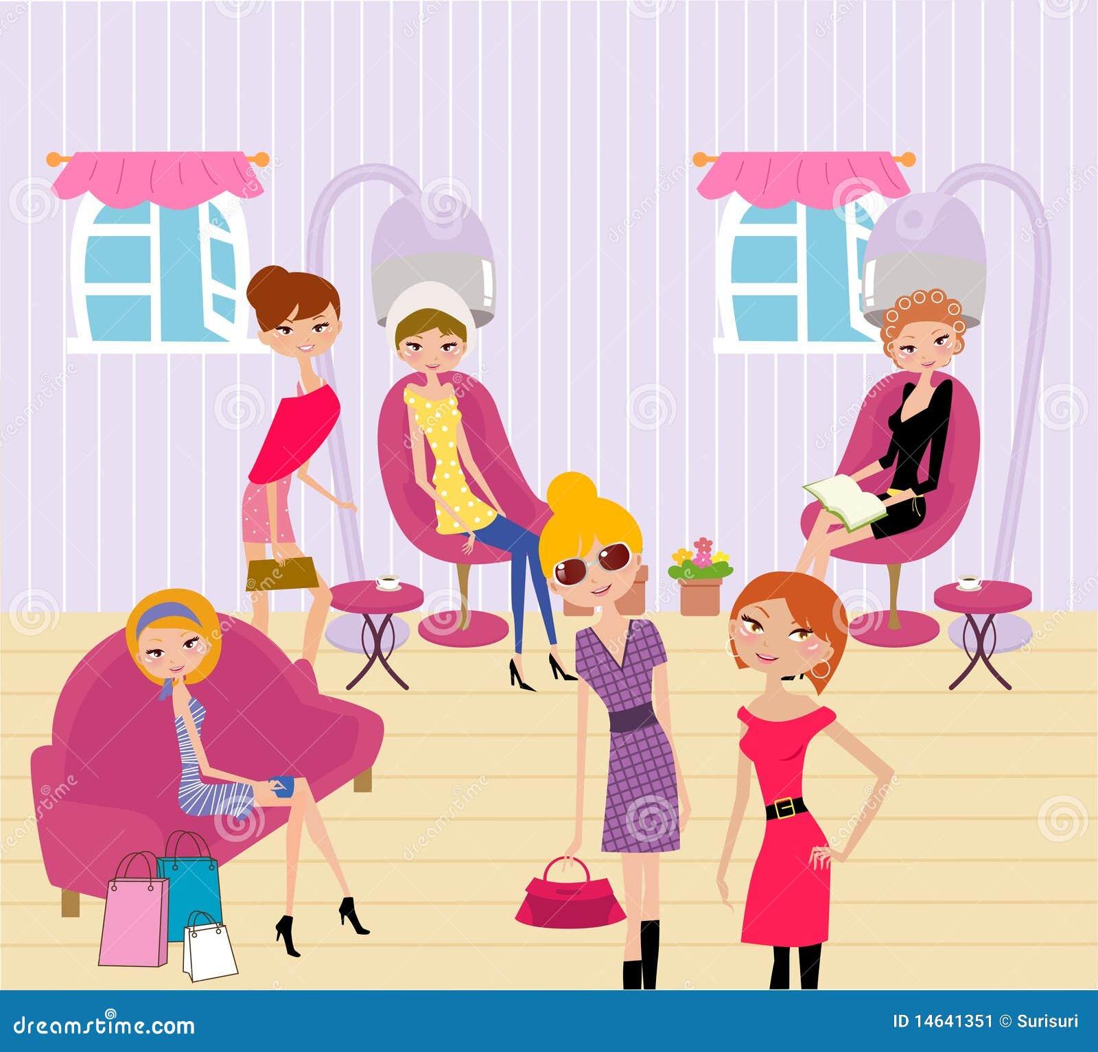 Kvinnor i en skönhetsalong som får en frisyr och mor