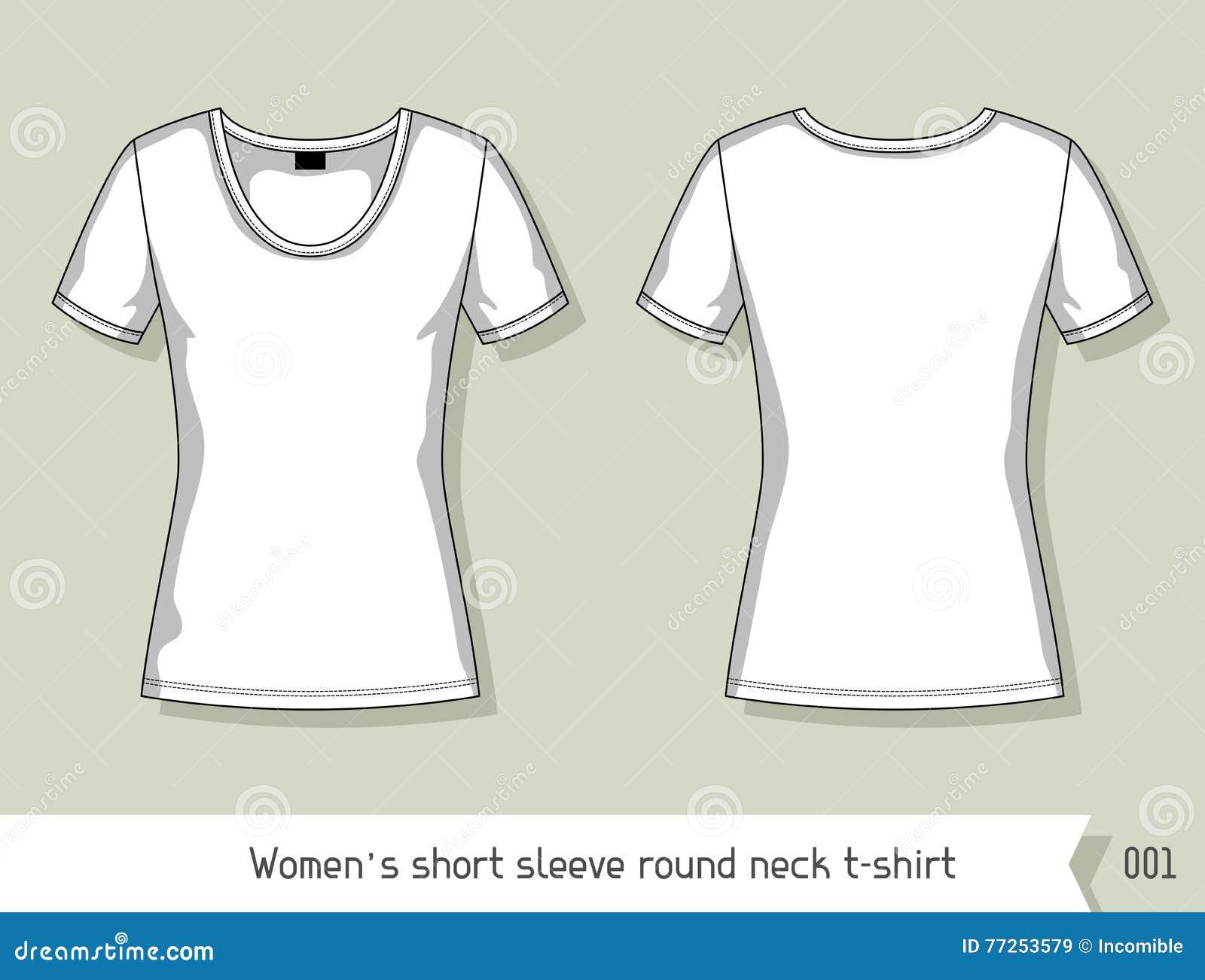 Kvinnor kortsluter t-skjortan för muffrundahalsen Mall för design, lätt som är redigerbar vid lager