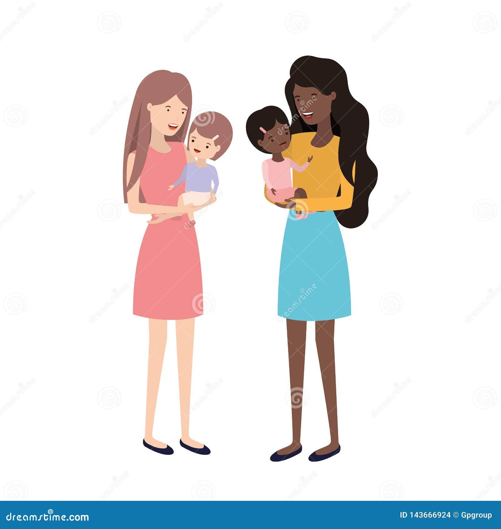 Kvinnor med barnavatarteckenet