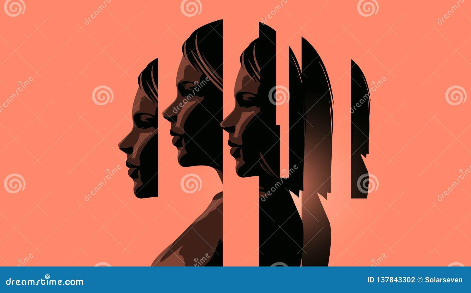 Kvinnor som handlar med mentala hälsor