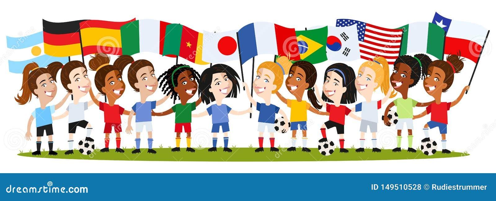 Kvinnors fotboll, grupp av kvinnliga spelare, tecknad filmkvinnor som rymmer nationsflaggor, Tyskland, Frankrike, Spanien, Argent