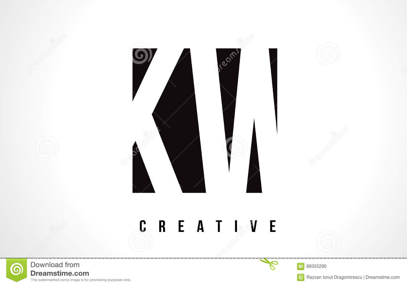 Kw K W White Letter Logo Design With Black Square Stock Vector