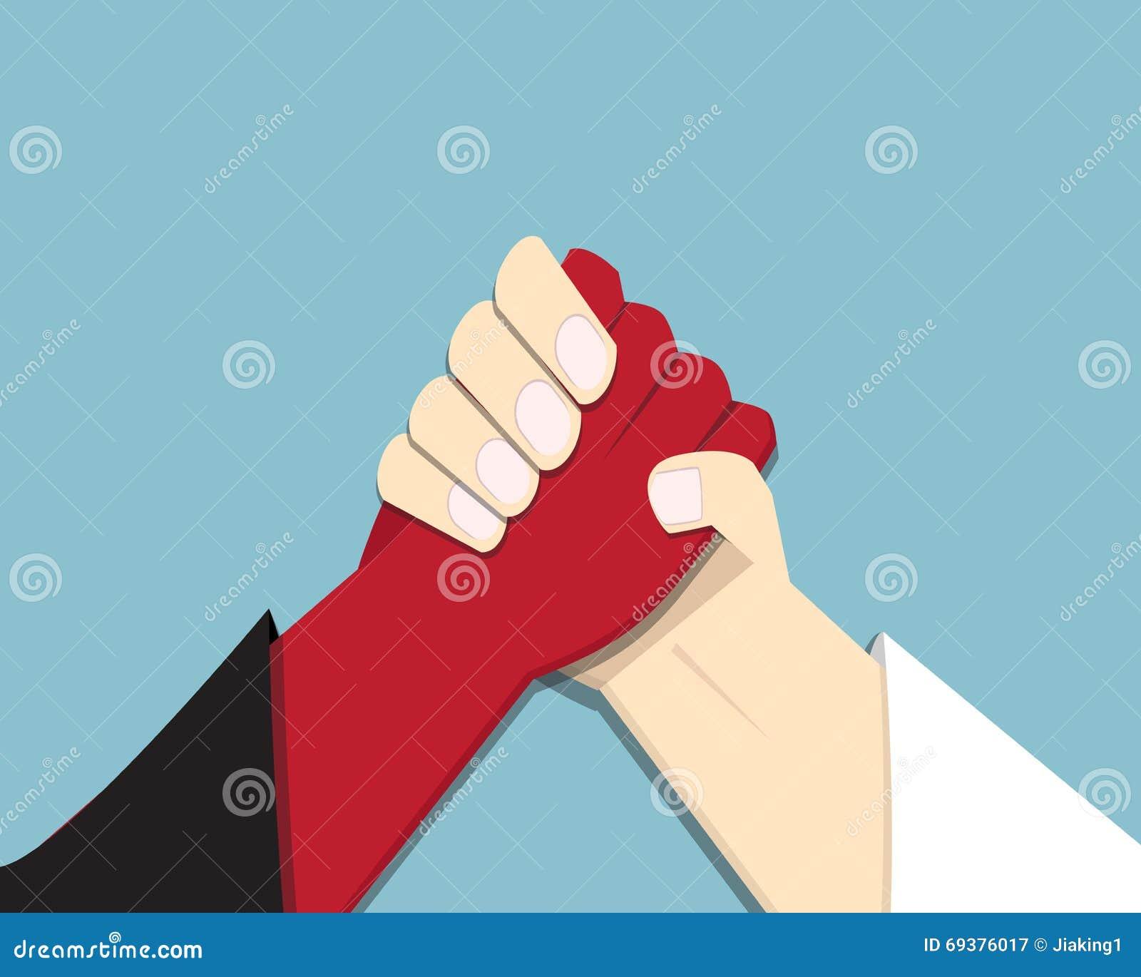 Kwaad versus God, het armwrestling, belofte, de concurrentie