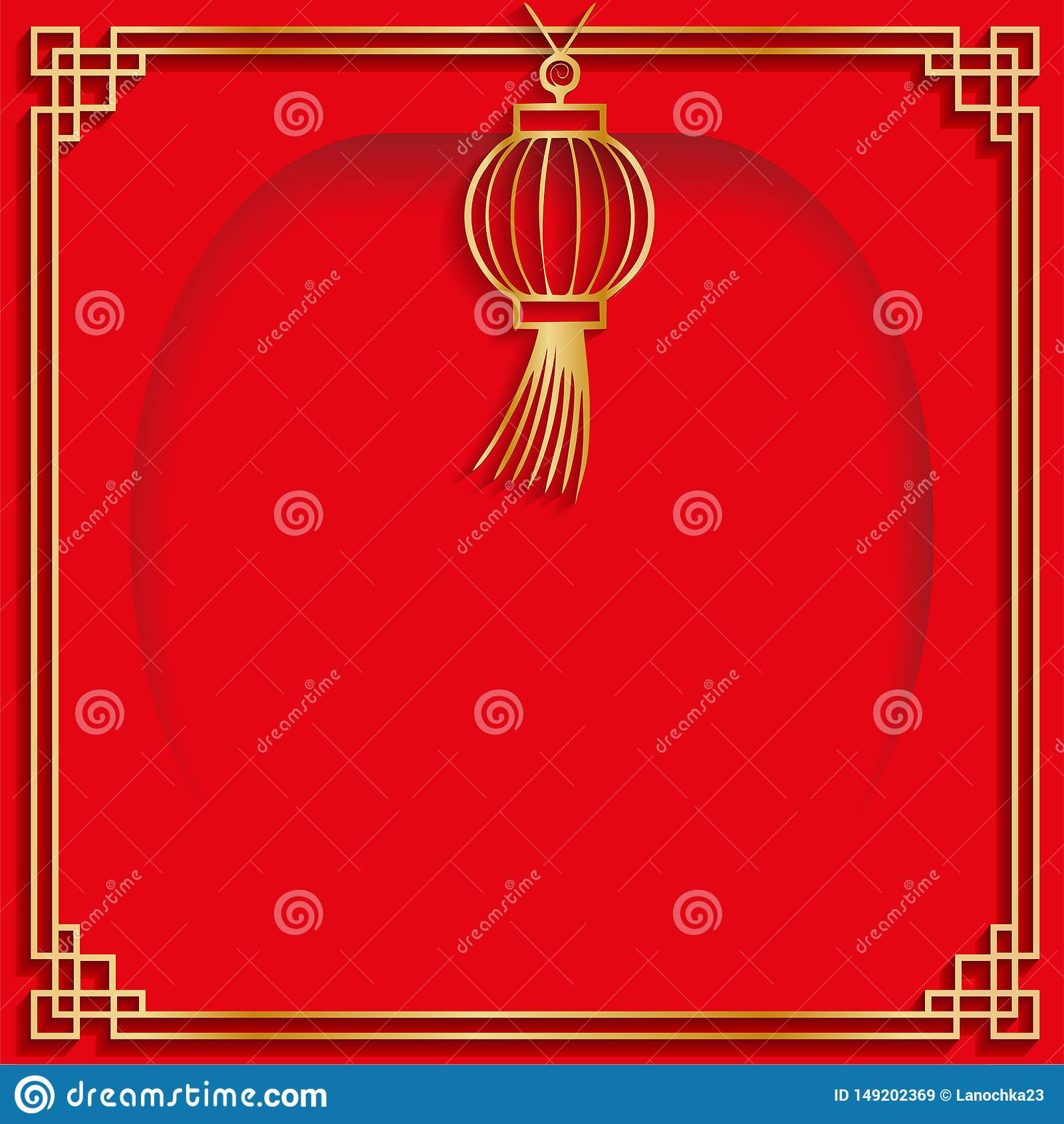 Kwadrant warstwy sztandaru stylu rama z papierowym rżniętym lampionem z pustym centrum miejscem dla twój teksta Chińska tomowa et