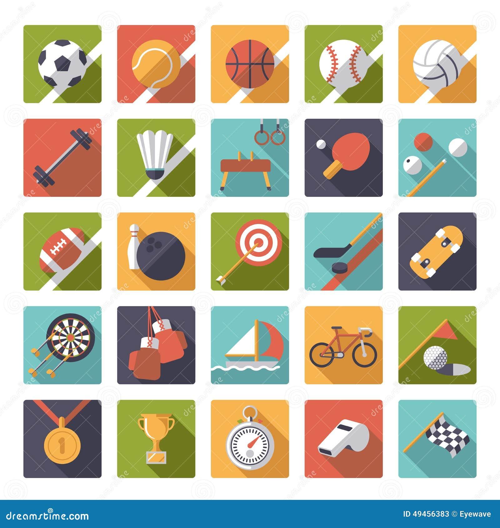 Kwadratów sportów ikon projekta wektoru płaski set