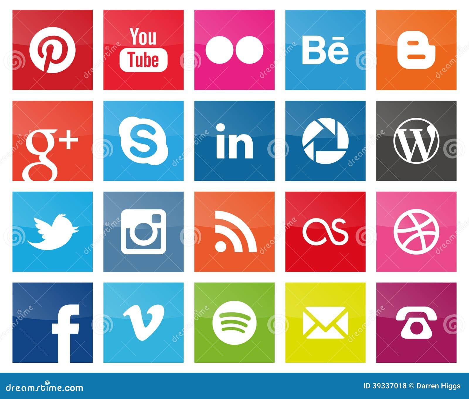 Kwadratowe Ogólnospołeczne Medialne ikony