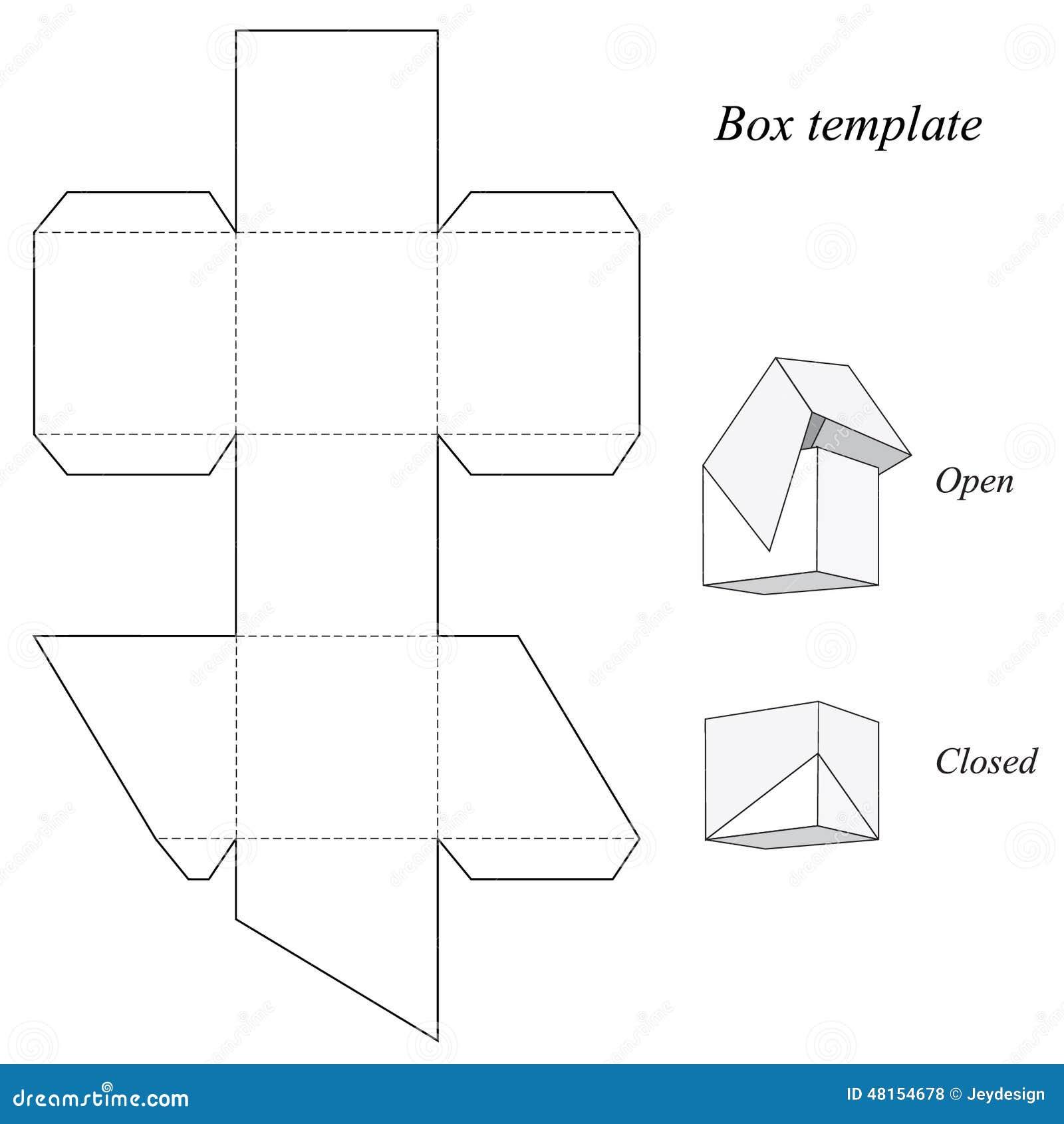 Kwadratowego Pudełka Szablon Z Deklem Ilustracja Wektor