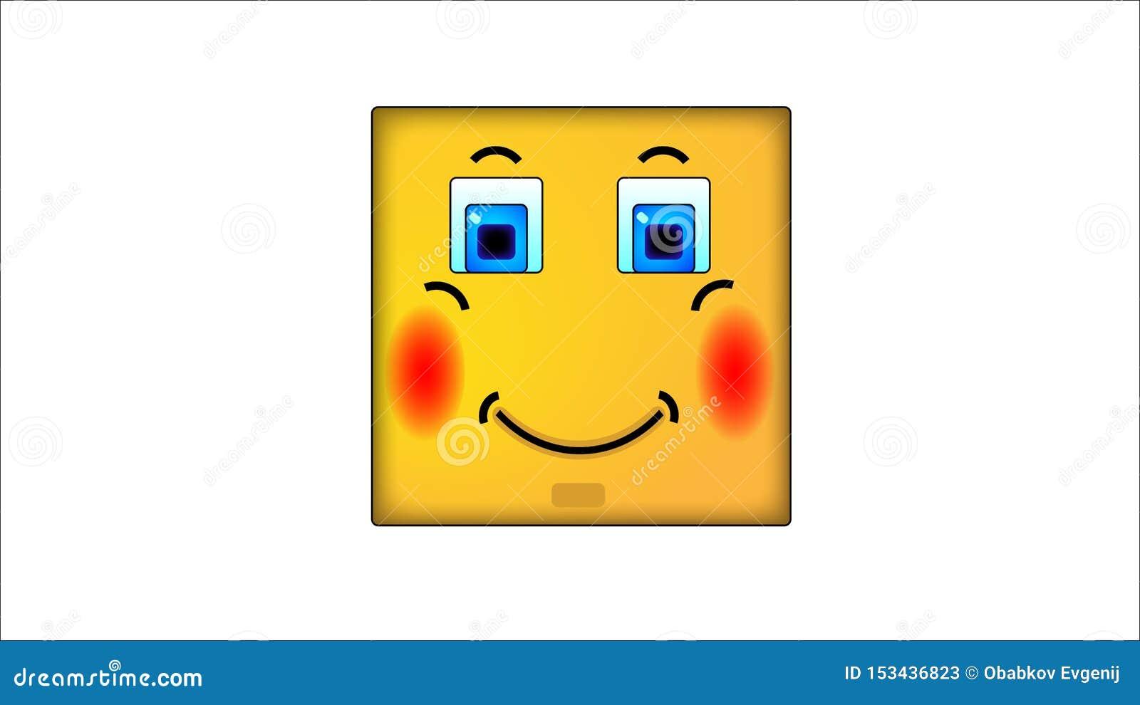 Kwadratowi smilies zawstydzenie