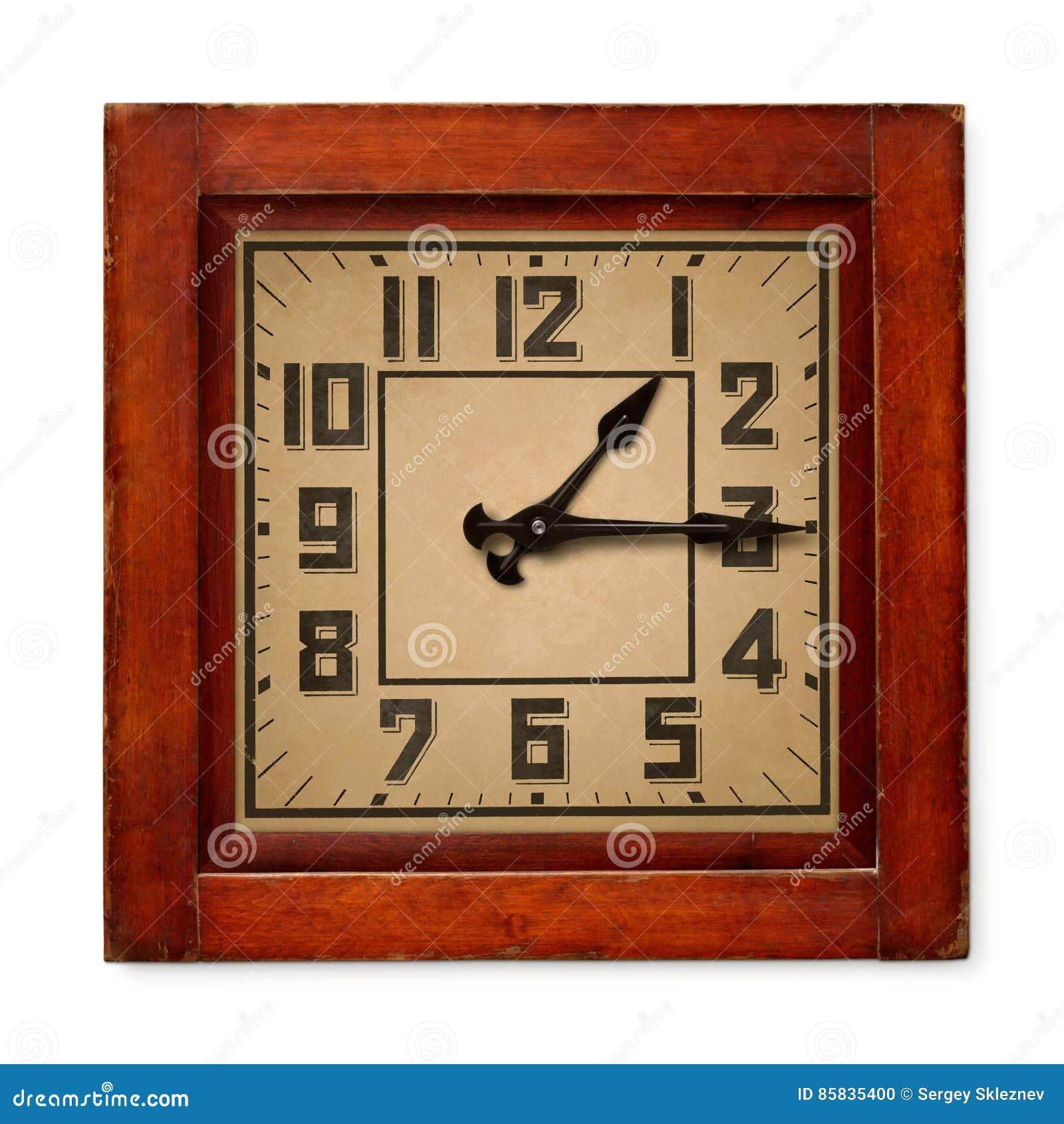 Kwadratowy drewniany ścienny zegar