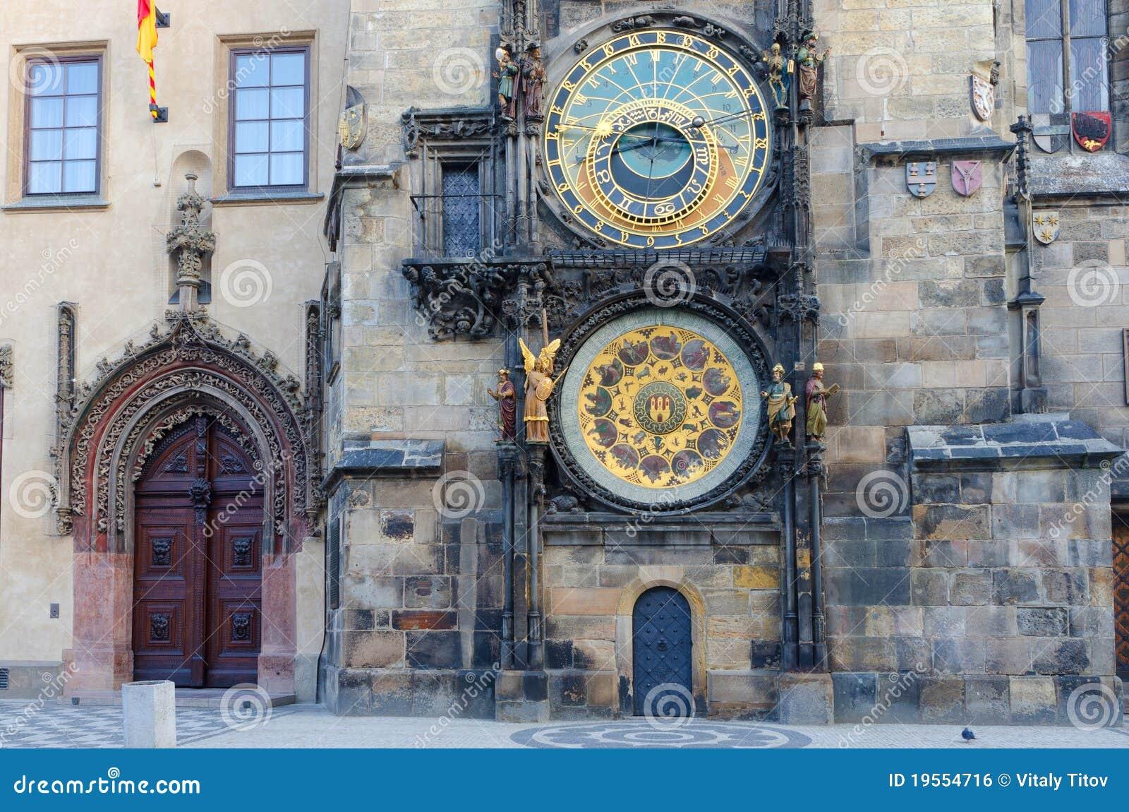 Kwadratowy Prague astronomiczny zegarowy stary miasteczko