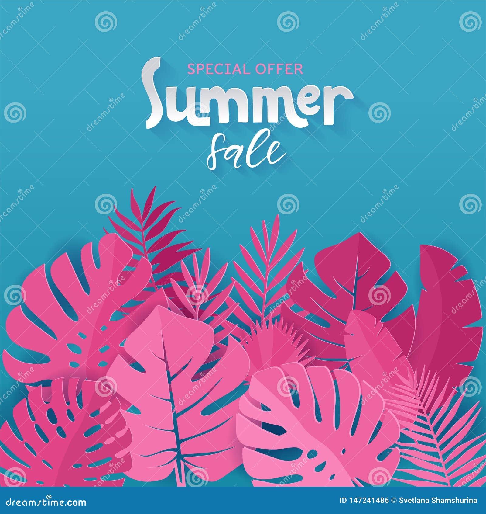 Kwadratowy sztandar oferty specjalnej lata sprzedaż z różową palmą, monstera, banan opuszcza na błękitnym tle z ręki literowaniem