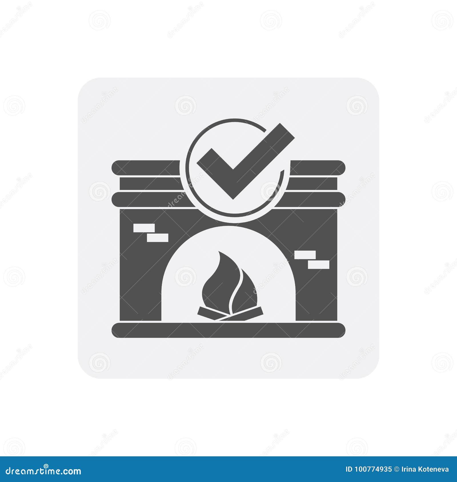 Kwaliteitscontrole thuis pictogram met open haardteken