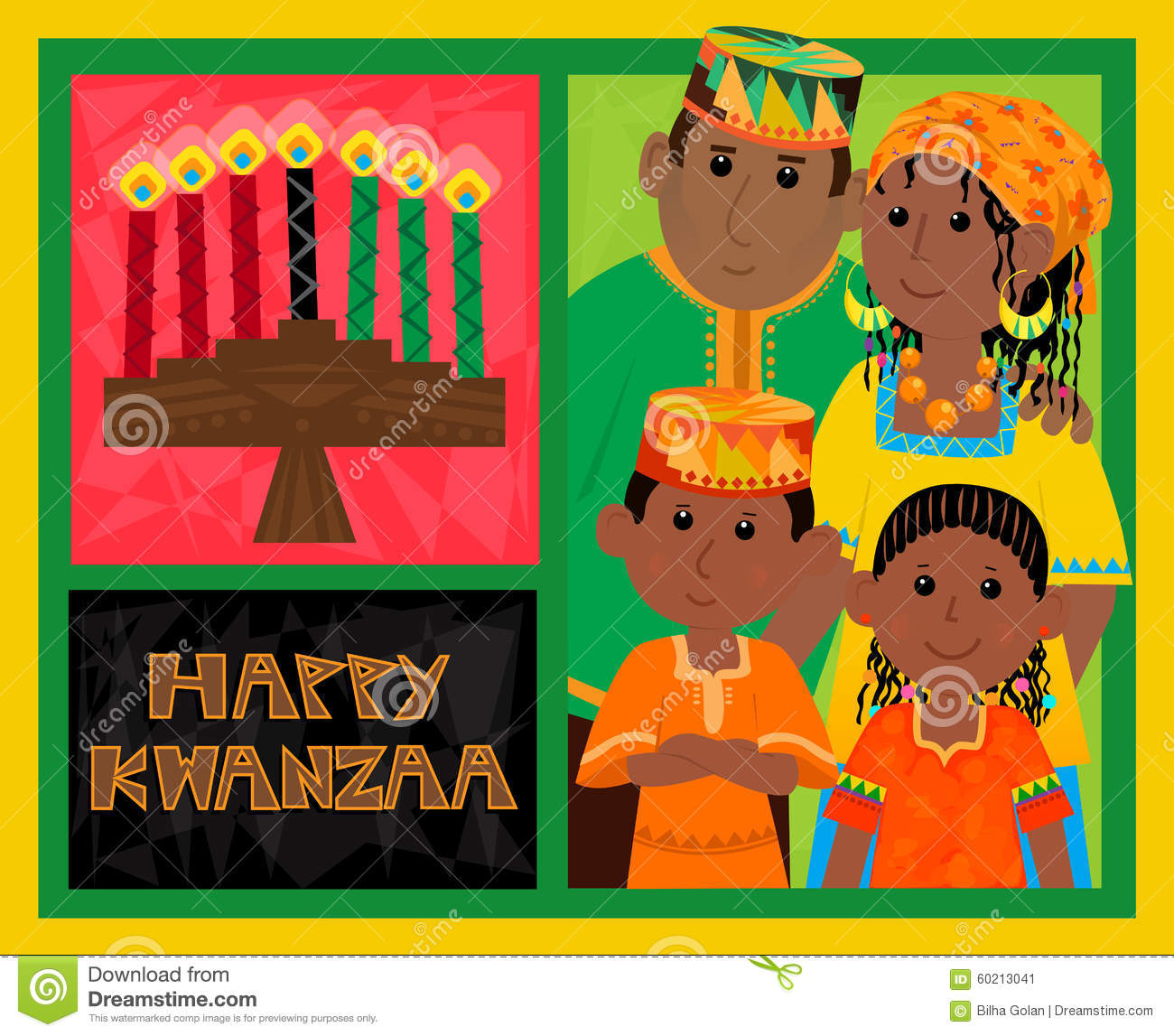 Kwanzaa card stock vector illustration of together card 60213041 cute kwanzaa greeting card with kinara happy kwanzaa text and african american family eps10 m4hsunfo