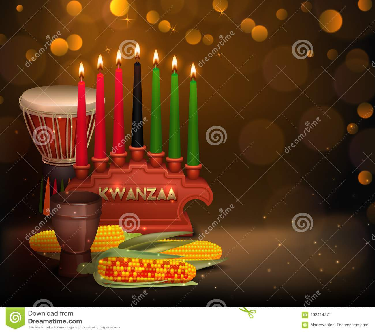 Kwanzaa Kinara Background Colorful Composition Poster