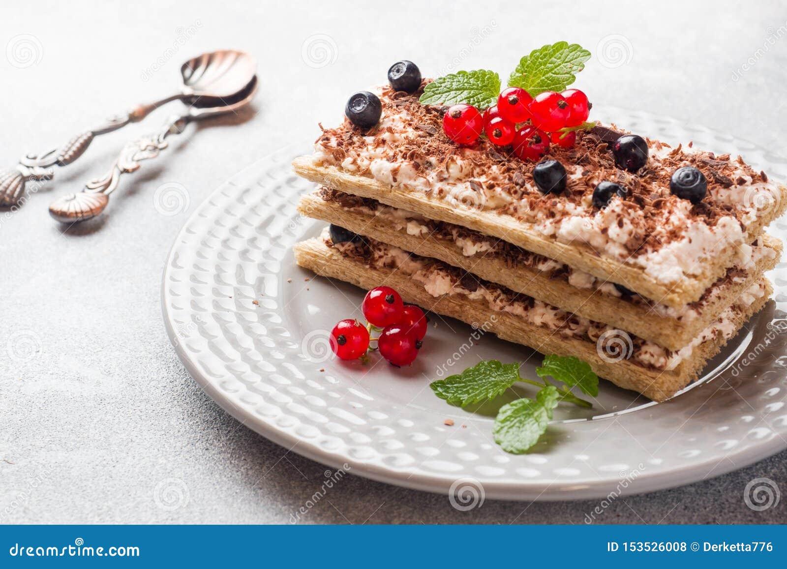 Kwarkdessert van knapperige dieetbrood, gestremde melk en bosbessen met rode aalbessen Selectieve nadruk