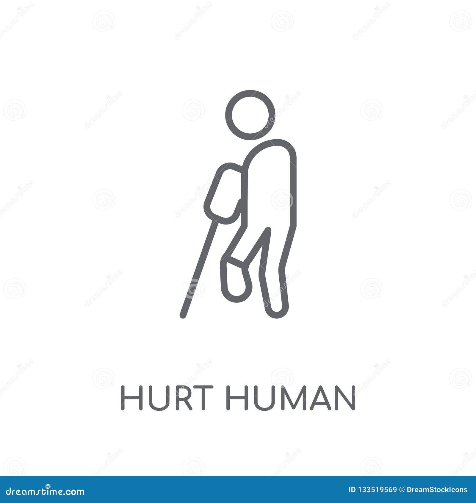 Kwets menselijk lineair pictogram Het moderne overzicht kwetste menselijk embleemconcept o