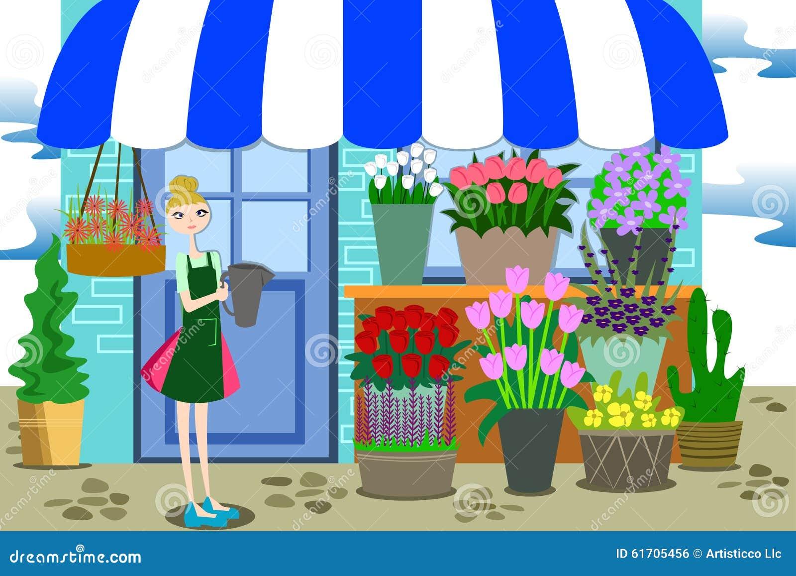 Kwiaciarnia Pracuje z wiązką Różni kwiaty