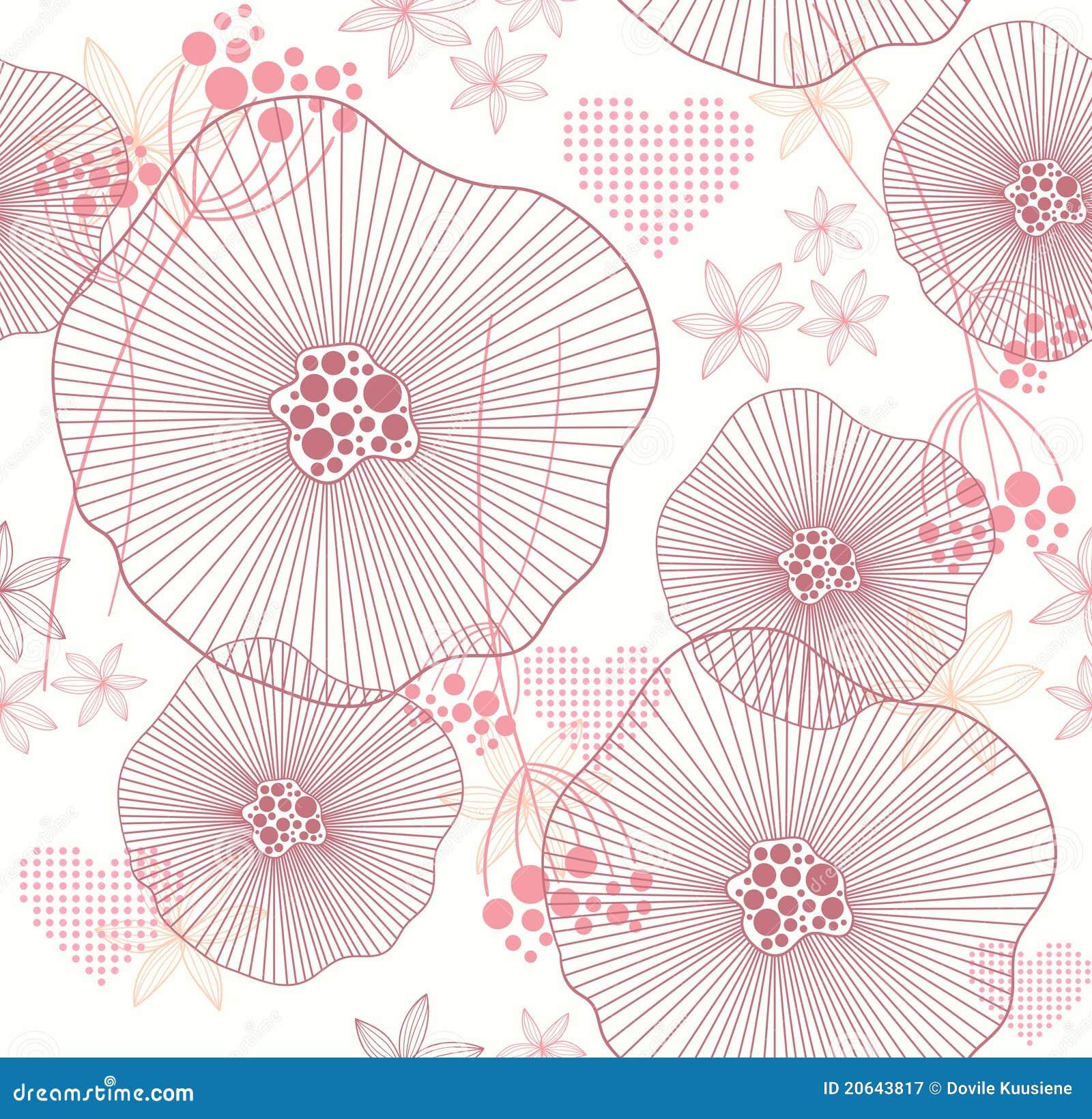 Kwiatów serca deseniują bezszwowego