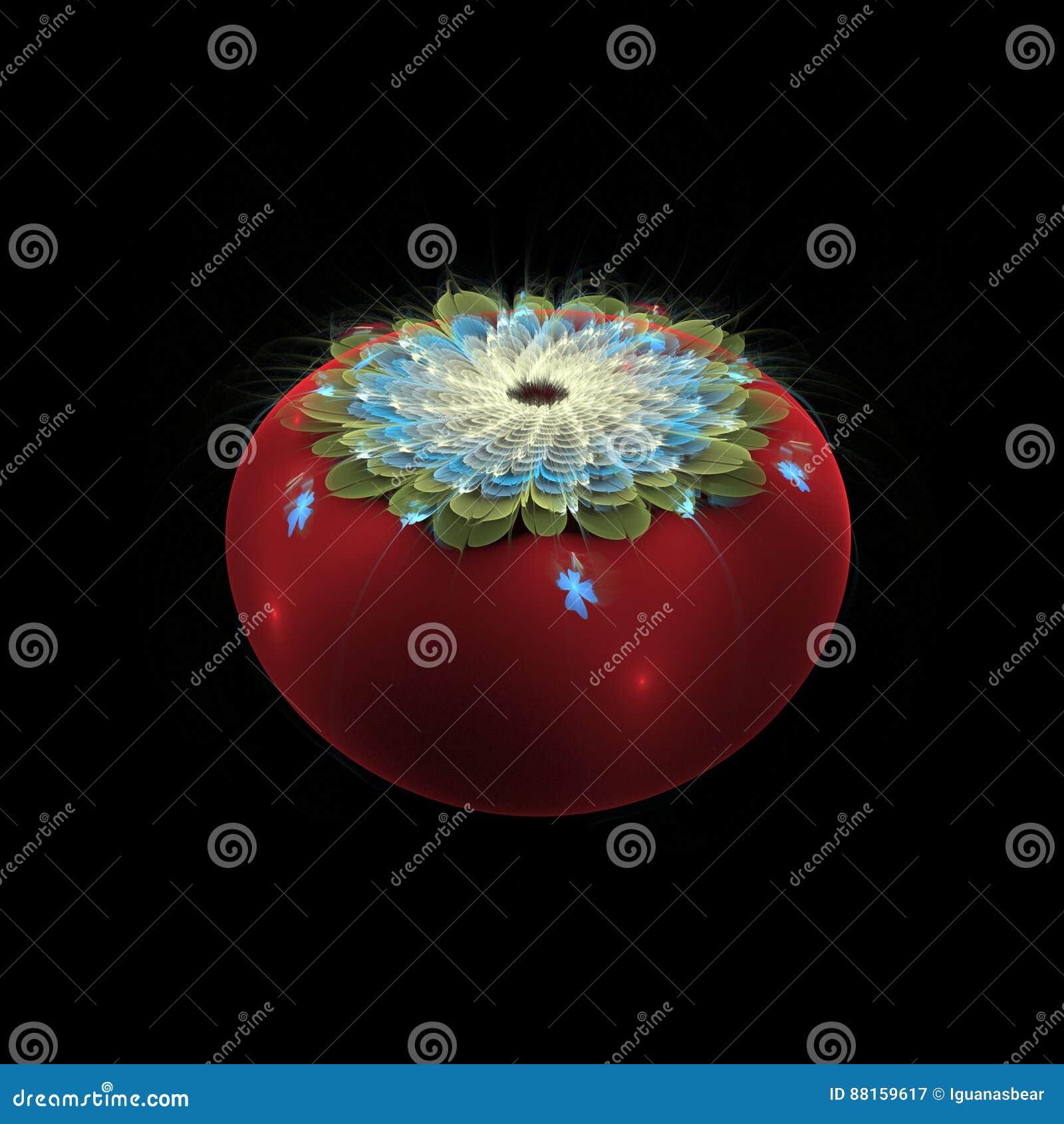 Kwiatonośny cranberry na czerni - cyfrowo odpłacający się fractal