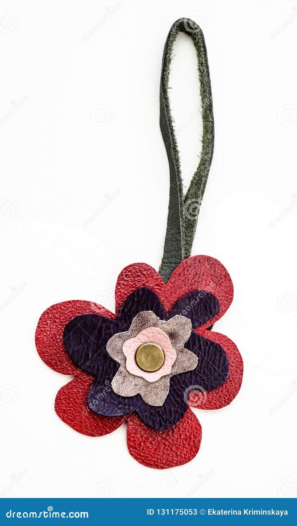 Kwiatu kształtny handmade rzemienny keychain