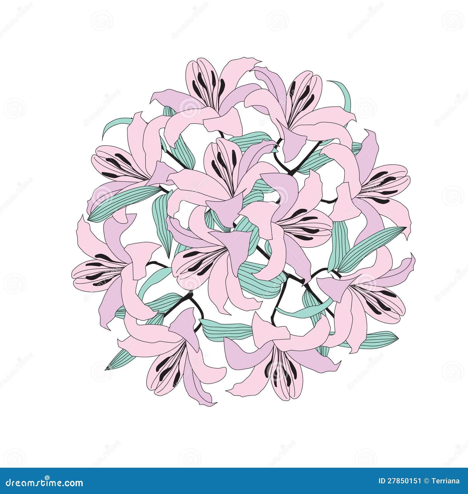 Kwiatu okręgu bukiet od delikatnej lilej lelui